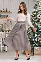 Вязаная юбка плиссе макси.Разные цвета, фото 1