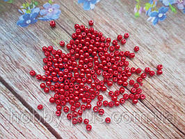 Бусины стеклокерамика, d 3 мм, (~240 шт), цвет красный