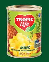 Ананас кусочками в сиропе TROPIC life 580 мл ж/б