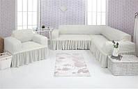 Чехол на диван угловой и кресло Venera  01-214 Белый