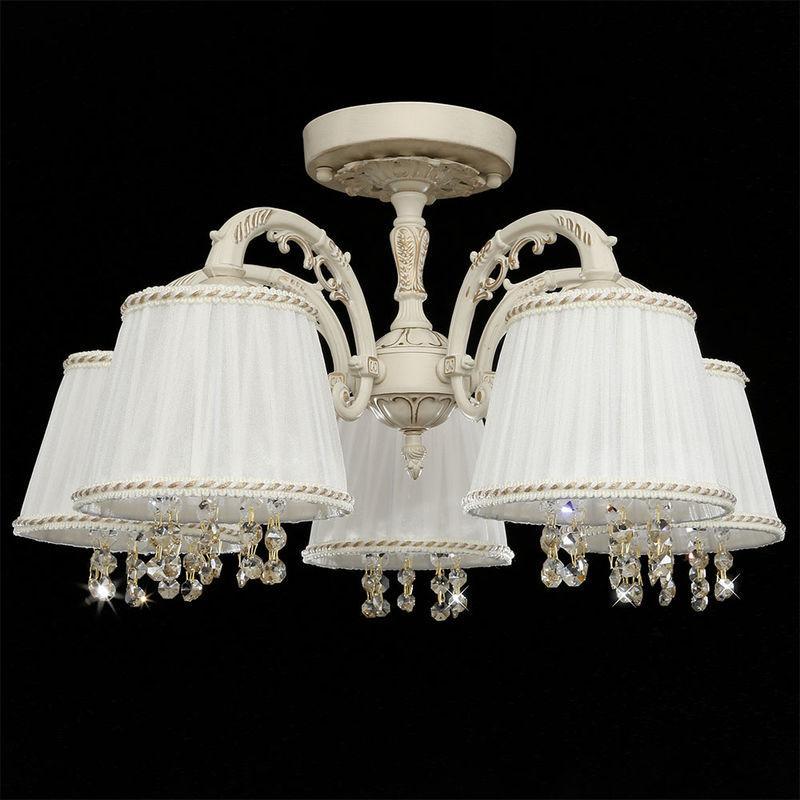 Люстра классическая  для спальни, большой комнаты 5 ламповая с абажурами и хрустальными подвесками 2247/5