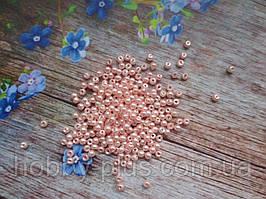 Бусины стеклокерамика, d 3 мм, (~240 шт), цвет персиковый