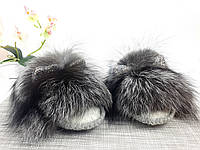 Теплые меховые домашние тапочки-шлепки с ушками