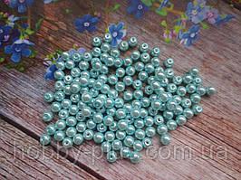 Бусины стеклокерамика, d 6 мм, (~145 шт), цвет мятный