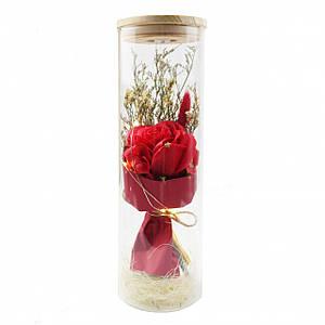 Роза в колбе с Led подсветкой Большая Красная 149743