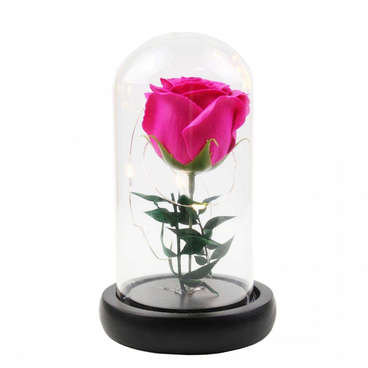 Роза в колбе с Led подсветкой маленькая Розовая 149733