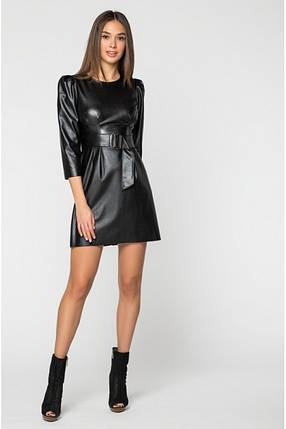 Женское кожаное короткое платье на флисе /черное, 42-46, PF-3130/, фото 2