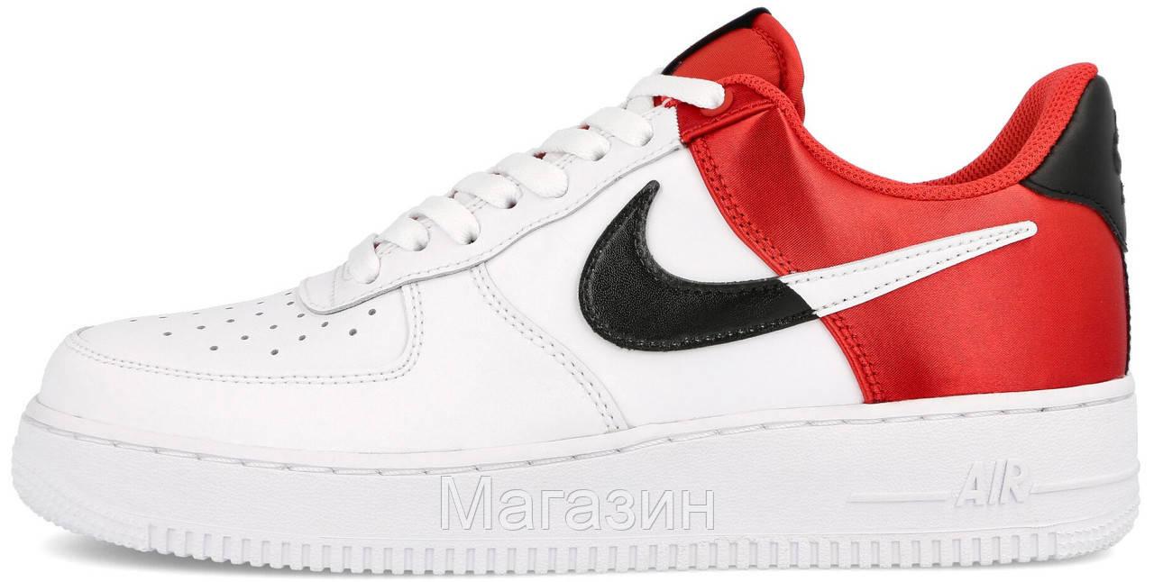 Мужские кроссовки Nike Air Force 1 '07 LV8 NBA White/ Red Найк Аир Форс белые с красным