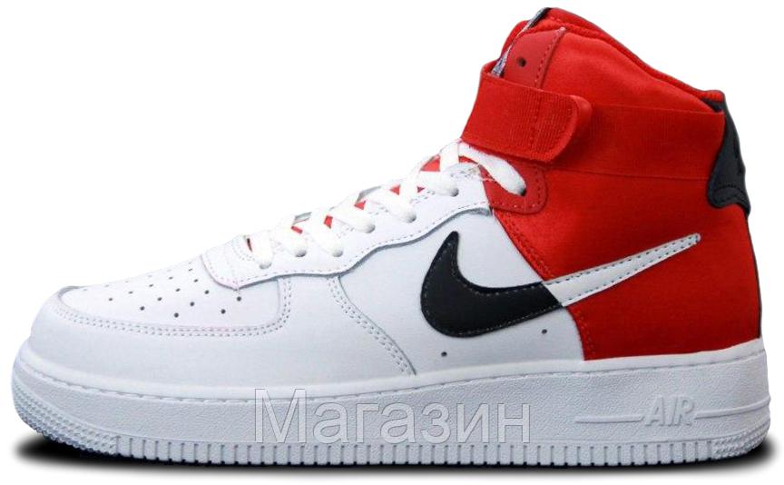 Мужские кроссовки Nike Air Force High NBA White/Red высокие Найк Аир Форс белые