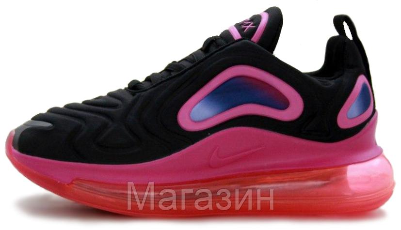 Женские кроссовки Nike Air Max 720 Black/Pink (Найк Аир Макс 720) черные с розовым
