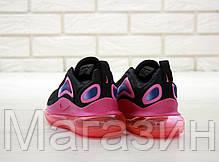 Женские кроссовки Nike Air Max 720 Black/Pink (Найк Аир Макс 720) черные с розовым, фото 3