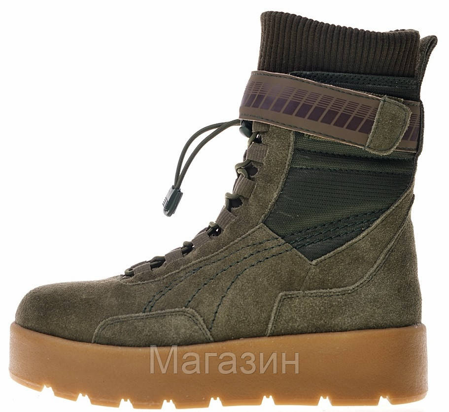 Женские кроссовки-ботинки Puma x Fenty Scuba Boot Rihanna Olive высокие Пума Фенти замшевые