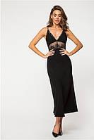 Вечернее женское платье макси с глубоким декольте /черное, 42-44, PF-3129/