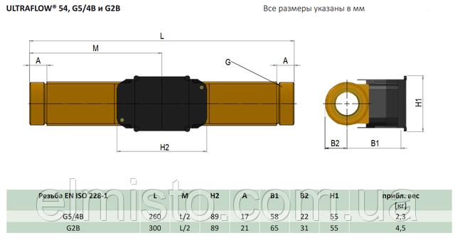 Габаритные размеры датчика расходасчетчикаMULTICAL 603