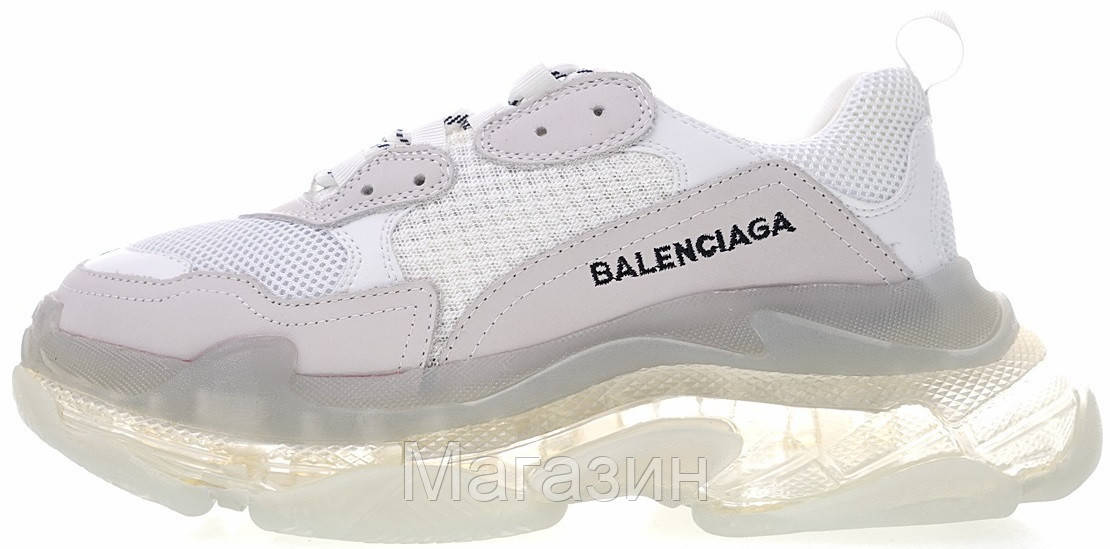Мужские кроссовки Balenciaga Triple S Clear Sole White Баленсиага Трипл С белые