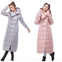 Универсальное зимнее длинное пальто выполнено в стиле casual с капюшоном, р.46, 50 код 2754М