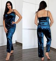 Темно-синяя женская велюровая пижама 42,44,46,48,50,52