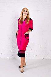 Жіночий малиновий халат велюровий на блискавці XL-5XL