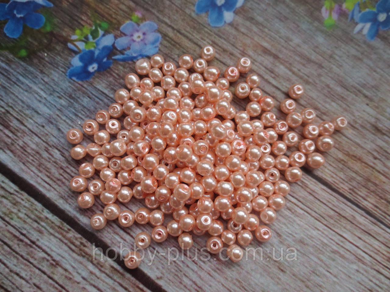 Бусины стеклокерамика, d 4 мм, (~225 шт), цвет персиковый