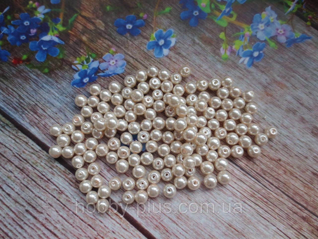Намистини склокераміка, d 6 мм, (~145 шт), колір світлий персик