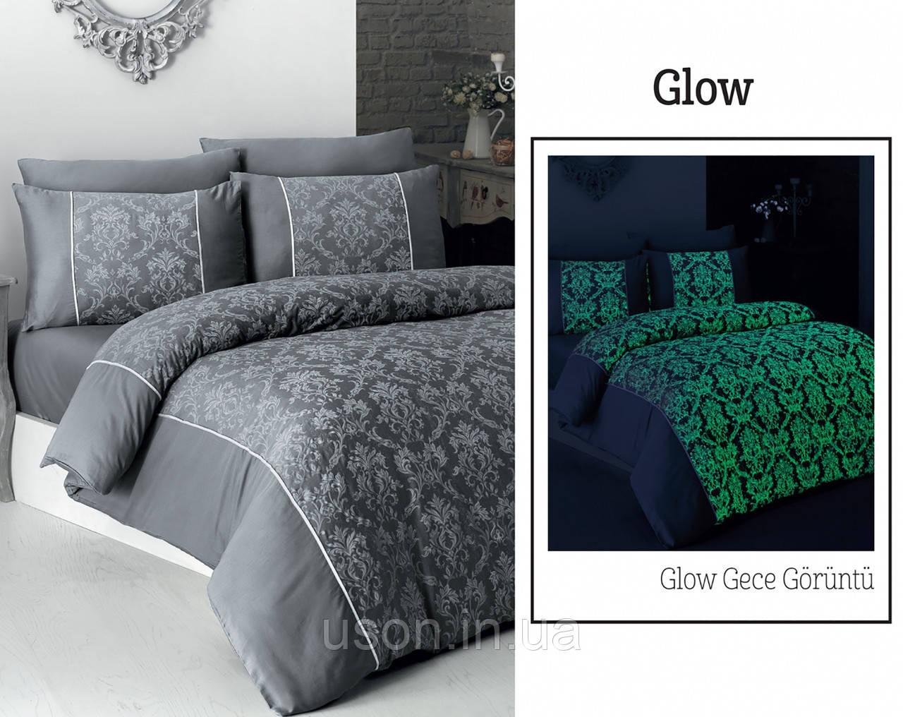 Комплект постільної білизни сатин Moonlight first choice євро розмір Glow