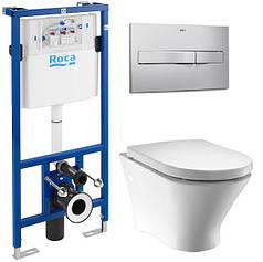 Комплект: NEXO Rimless унитаз подвесной, PRO инсталяция для унитаза, PRO кнопка, сиденье твердое slo