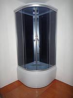 Душевой бокс без электроники на глубоком поддоне 900*900*2150 мм полностью стеклянный GREY EKO ELEPHANT TM-983