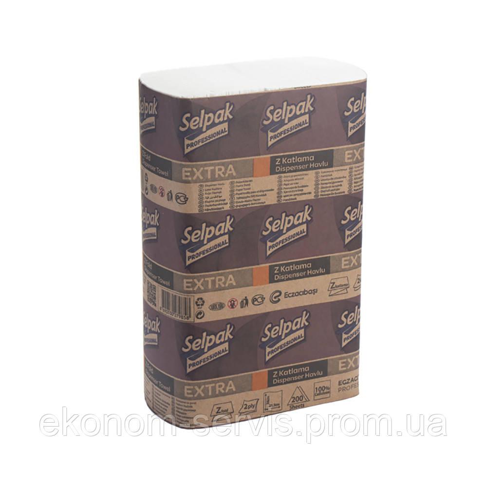 Полотенце бумажное Z-сложение двухслойное целюлозное Selpak EXTRA PRO serviсe, 21.5*24см, 200 шт (32660430)