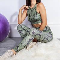 Спортивный костюм женский для фитнеса. Комплект лосины и топ для йоги, спорта, тренировок, размер S (зеленый)