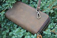 Кожаный винтажый клатч TIDING BAG в стиле унисекс, стильное кожаное портмоне