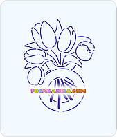 Трафарет + формочка-вырубка для пряников Восьмерка с тюльпанами №2