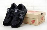 Мужские кроссовки New Balance 574 в стиле нью беланс черные (Реплика ААА+), фото 3