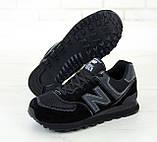 Мужские кроссовки New Balance 574 в стиле нью беланс черные (Реплика ААА+), фото 6