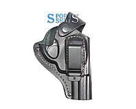 Кобура поясная Револьвер 3 формованная с клипсой (кожа, чёрная), фото 1