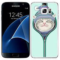 Чехлы U-Like Чехол силиконовый с принтом Милые котята для Samsung G930F Galaxy S7 (Котенок в шапке) (15259)