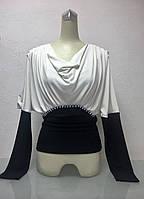 Блуза женская Balizza белая комбинированная горло хомут с камнями длинный рукав