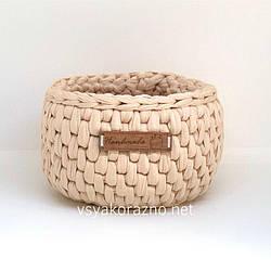 Вязаная корзинка для интерьера handmade (узор ротанг)