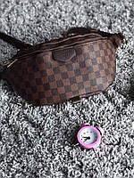 Сумка На Пояс (Поясная сумка,Бананка) LV Paris темно-коричневая (реплика)