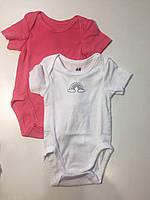 Комплект из 2 боди H&M 1168 56  белый розовый