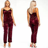 Женская велюровая пижама,марсала 42,44,46,48,50,52