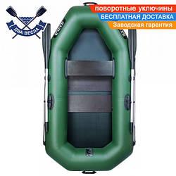 Надувная лодка Ладья ЛТ-190УЕС со слань-ковриком, сдвижным сиденьем и веслами, одноместная