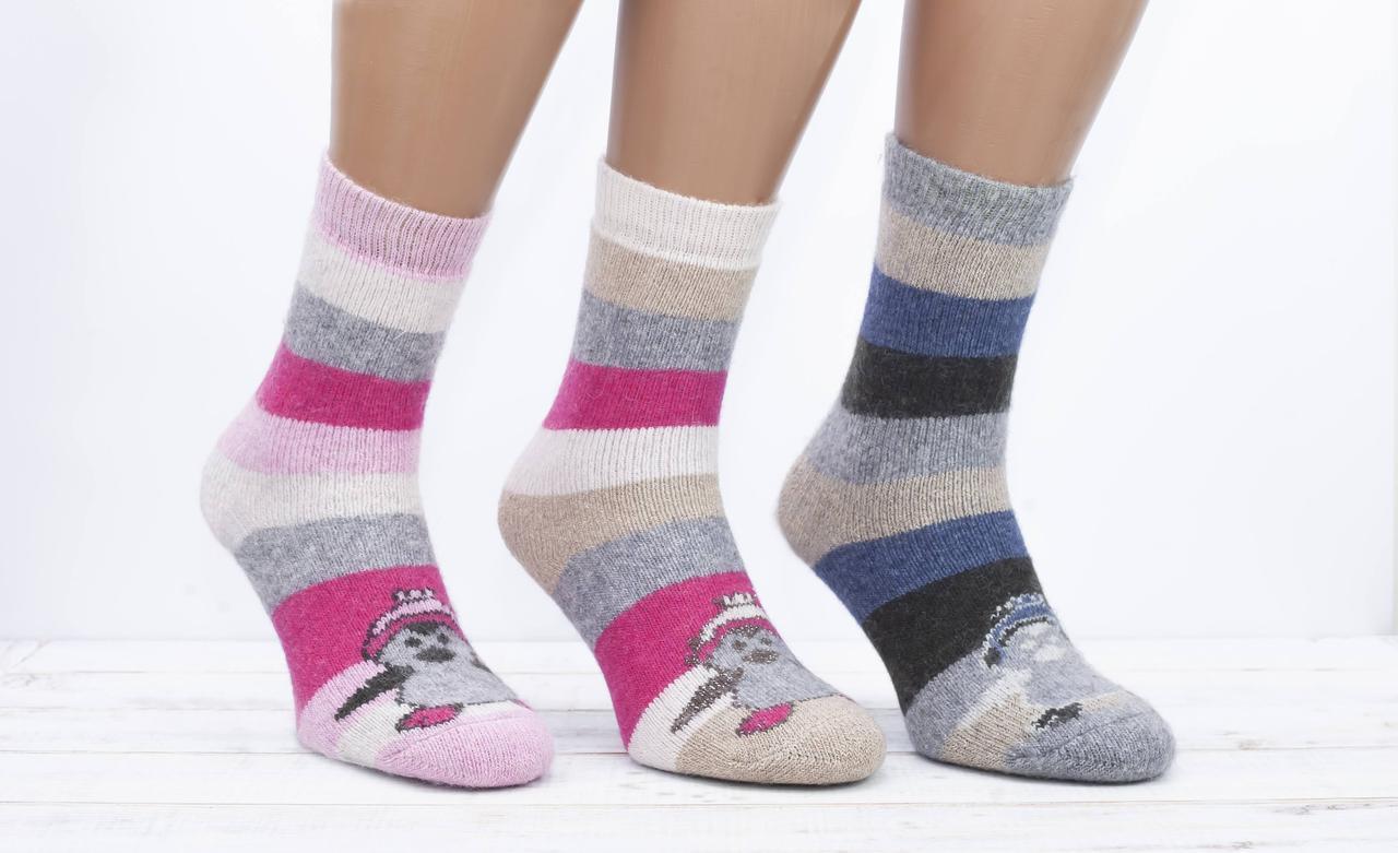 Жіночі теплі носки шкарпетки Kardesler з вовни лами всередині з махрою з малюнком пінгвіна 37-41 мікс