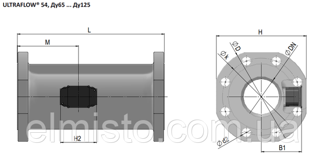 Габаритные размеры датчика расходасчетчикаMULTICAL 603 Ду65 фланец