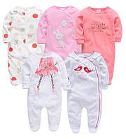 Человечки слип для новорожденных набор 5 шт 0-3 месяцев с длинными рукавами ножками для девочки (арт. DT011)