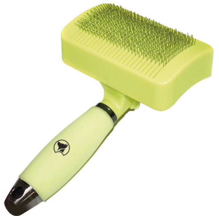 Пуходерка CROCI Glam Gel самоочищувальна середня з силіконовою ручкою для котів та собак, 6,5*10,5 см