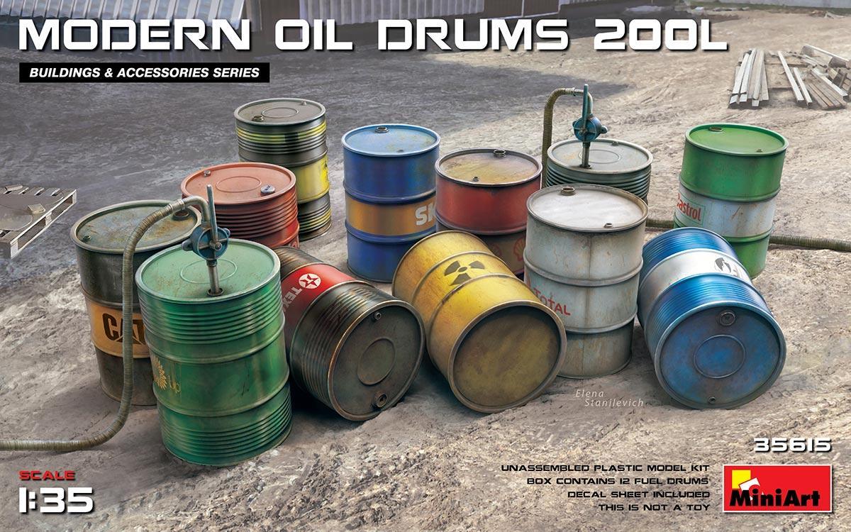 Современные 200-литровые бочки для нефтепродуктов. Сборная модель. 1/35 MINIART 35615