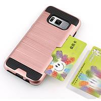 Чехол для Samsung S8 (G950), бампер с слотом для кредитной карты, цвет розовое золото