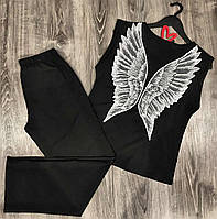 Черная пижама штаны+футболка крылья ангела.