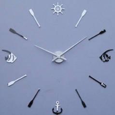 Часы наклейки, diy clock, очень красивые, рыбки, синие