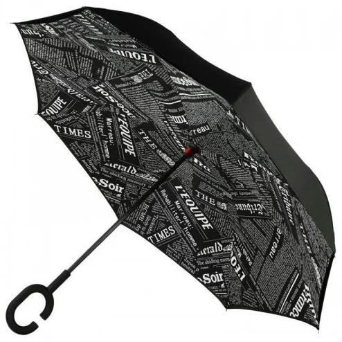 Ветрозащитный зонт Up-Brella   антизонт   зонт обратного сложения   зонт наоборот (Газета)